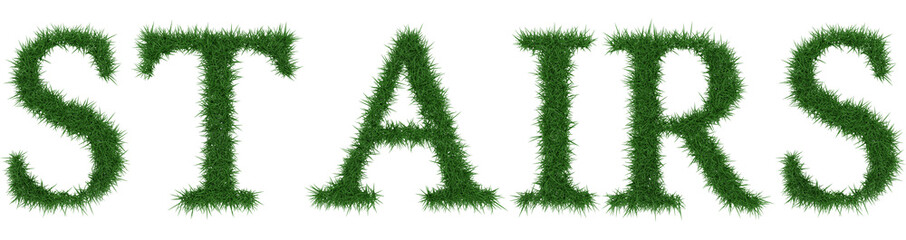 Stairs - 3D rendering fresh Grass letters isolated on whhite background.