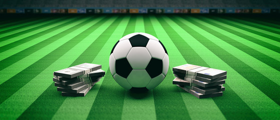 Soccer football ball and banknotes on a field background. 3d illustration