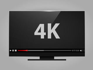 4k tv screen with video player. Digital wide television concept.