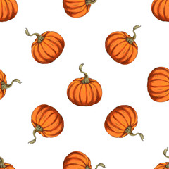 Orange pumpkins seamless pattern.Vector