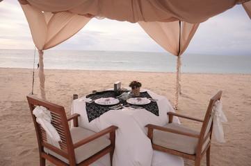 海岸でのディナー