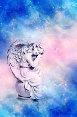 Wall Mural - Angel archangel Gabrile, Ariel, Haniel over divine mystical sky with stars and clouds