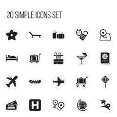 Set Of 20 Editable Holiday Icons. Includes Symbols Such As Rest Time, Basin, Cart And More. Can Be Used For Web, Mobile, UI And Infographic Design.