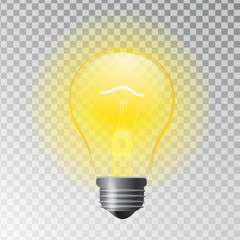 Vector illustration of light bulb as idea symbol. Business creative idea concept. Transparent shining lamp