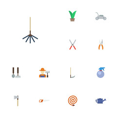 Flat Icons Plant, Tools, Lawn Mower And Other Vector Elements. Set Of Agriculture Flat Icons Symbols Also Includes Tool, Pruner, Watering Objects.