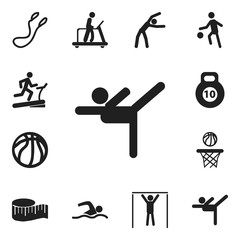 Set Of 12 Editable Active Icons. Includes Symbols Such As Cloth Ruler, Jump Training, Basket Play And More. Can Be Used For Web, Mobile, UI And Infographic Design.