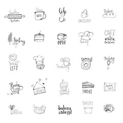 Sketch Bakery logo set. Lettering typography, badges, labels with cook, cake, cup