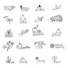 Vector set of wellness spa logos - natural signs and concepts for health centers, yoga classes