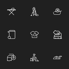 Set Of 9 Editable Cleanup Outline Icons. Includes Symbols Such As Paper, Sweeping, Trash Can And More. Can Be Used For Web, Mobile, UI And Infographic Design.