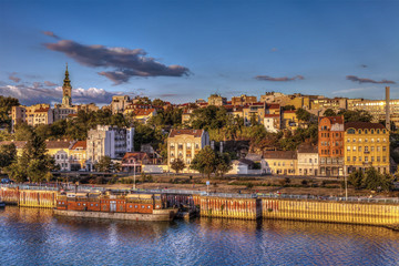 Old Belgrade and harbor on the Sava River. HDR image