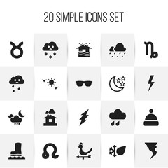 Set Of 20 Editable Air Icons. Includes Symbols Such As Domicile, Frost, Snowing And More. Can Be Used For Web, Mobile, UI And Infographic Design.