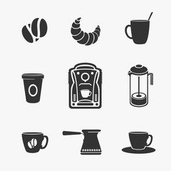 Set of Vector Symbol of Coffee and Tea