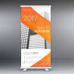 abstract orange roll up banner standee vector design