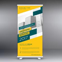 modern yellow roll up standee banner vector template