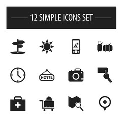 Set Of 12 Editable Travel Icons. Includes Symbols Such As Suitcases, Crossroad, Signboard And More. Can Be Used For Web, Mobile, UI And Infographic Design.