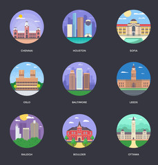 Set of World Famous Cities Illustrations 11