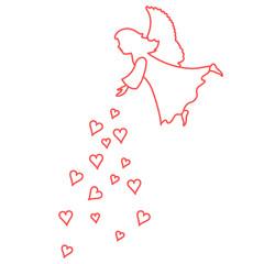 Cute vector illustration: angel showered hearts. Love symbol.