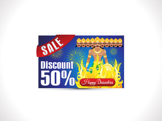 abstract artistic creative dussehra discount card