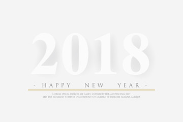 2018 Happy new year on white background with real shadow, vector illustration design.