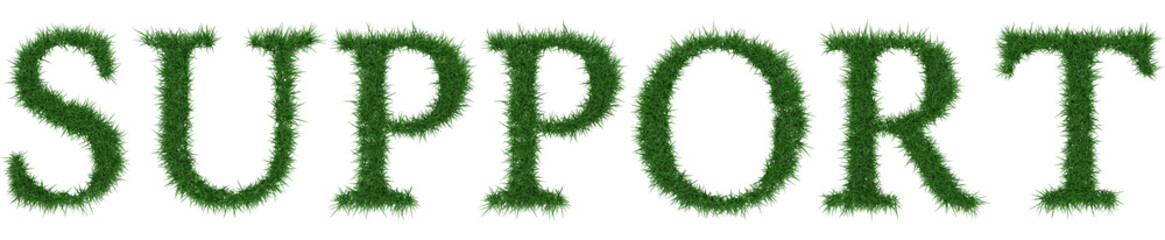 Support - 3D rendering fresh Grass letters isolated on whhite background.