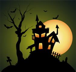 Creepy Old Halloween Horrable House - clip-art vector illustration