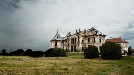 Desolate, abandoned manor house in Eastern Europe, Romania