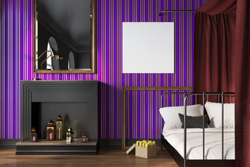 Purple bedroom, fireplace and poster