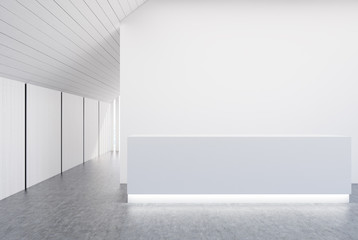 White and wooden wall office, gray reception