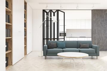 White living room interior, gray sofa