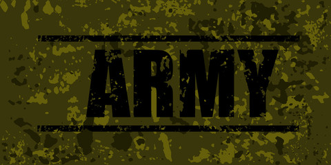 "Camouflage military  badge with grunge ""Army"" word. Vector illustration."