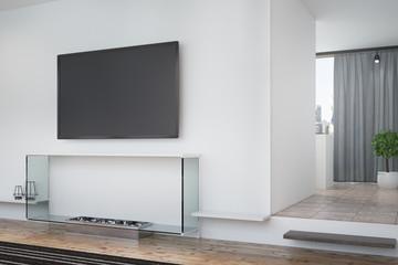 White living room, TV and poster, corner