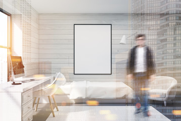 White wood bedroom, computer and poster, man