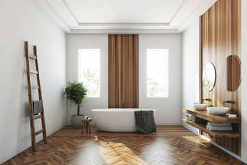 White and wooden bathroom, white tub