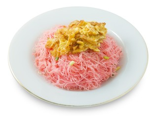 Red Fried Rice Vermicelli with Eggs and Scallion