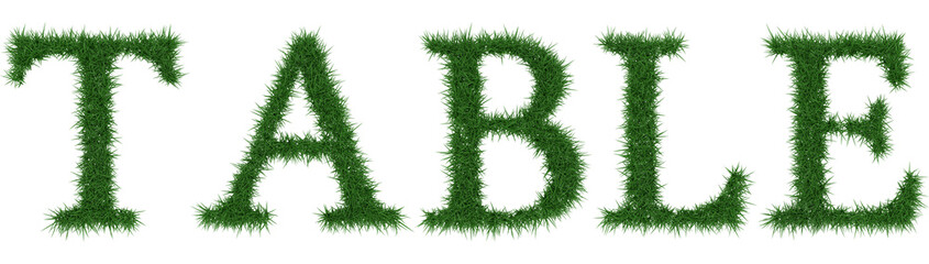 Table - 3D rendering fresh Grass letters isolated on whhite background.