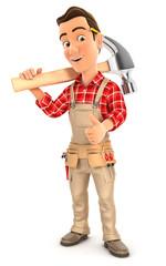 3d handyman carrying hammer on shoulder