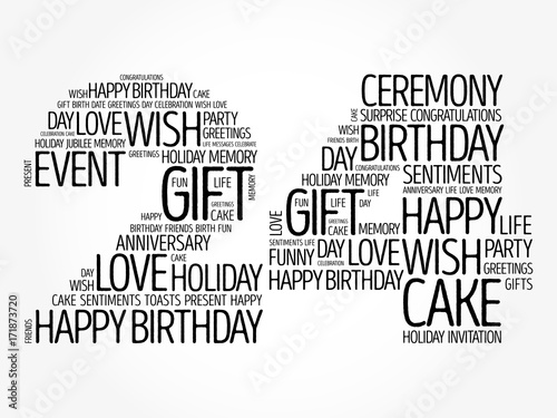 happy 24th birthday word cloud collage concept stock image and