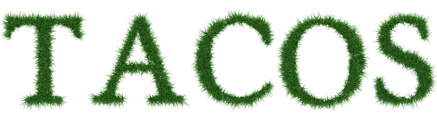 Tacos - 3D rendering fresh Grass letters isolated on whhite background.
