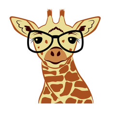 Giraffe head vector graphic illustration.