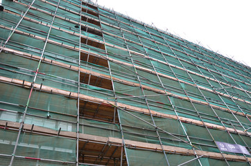 scaffolding work platform, building restoration, renovation and redevelopment