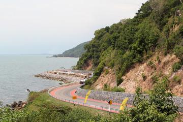 Beautiful sea side road of Chantaburi, Thailand.
