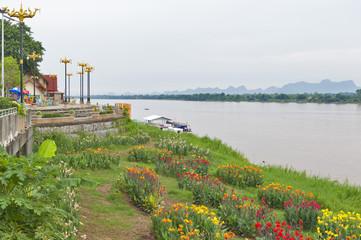 Mekong riverbank in Nakhon Phanom, Thailand, opposite Thakhek, Khammouane Province in Lao PDR.