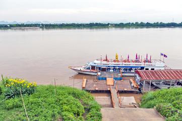 International passenger boat operated across Mekong River between city of Nakhon Phanom in Thailand and Thakhek, Khammouane Province in Laos