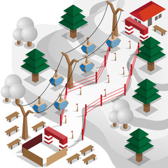 Ski Resort. Speed skiing. Vector illustration. Isometric.