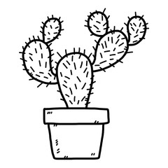 cactus / cartoon vector and illustration, black and white, hand drawn, sketch style, isolated on white background.