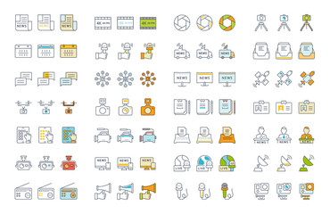 Set Vector Flat Line Icons News