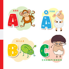 Danish alphabet. Monkey, sheep, beetle, mushroom. Vector letters and characters.
