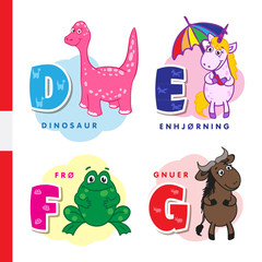 Danish alphabet. Dinosaur, unicorn, frog, wildebeest. Vector letters and characters.