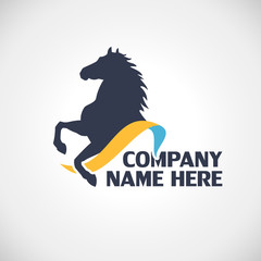 Logo with horse silhouette vector illustration