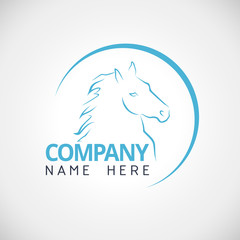 Company logo with horse modern line vector illustration